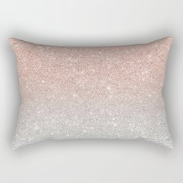 Modern trendy rose gold glitter ombre silver glitter Rectangular Pillow
