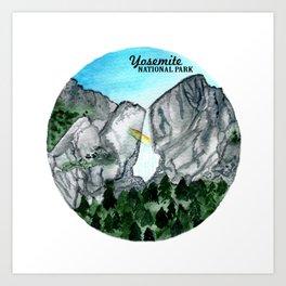 Yosemite National Park Watercolor Art Print