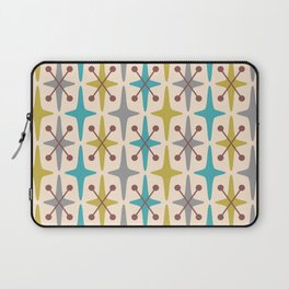Mid Century Modern Abstract Star Pattern 441 Gray Brown Turquoise Olive Green Laptop Sleeve