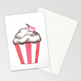 red cupcake (pointillism) Stationery Cards