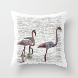 Three Flamingos Watercolor Throw Pillow