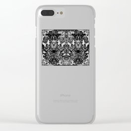 Black and White Art Nouveau Moths and Honeysuckle Clear iPhone Case