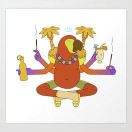 Zen Midnight Parrot Art Print