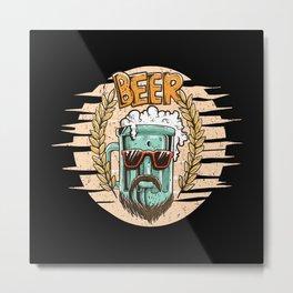 Hipster Beer Metal Print