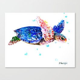 Sea Turtle, blue rainbow Canvas Print