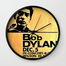 Vintage 1964 Bob Dylan at Wilson High School Poster Wall Clock