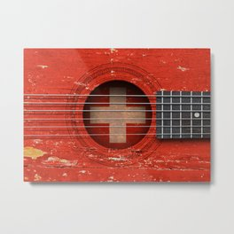 Old Vintage Acoustic Guitar with Swiss Flag Metal Print