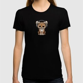 Cute Leopard Cub Dj Wearing Headphones T-shirt