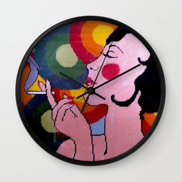 Pop Art lady by Lika Ramati Wall Clock
