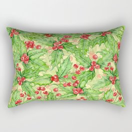 Holly berry watercolor Christmas pattern Rectangular Pillow