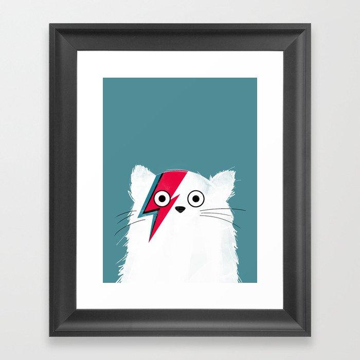 Cat Hero White Gerahmter Kunstdruck