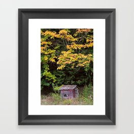 Little Red Shack in Mountains in Autumn Framed Art Print