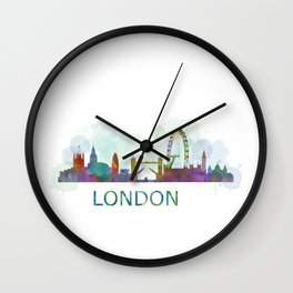 London UK Skyline HQ watercolor Wall Clock