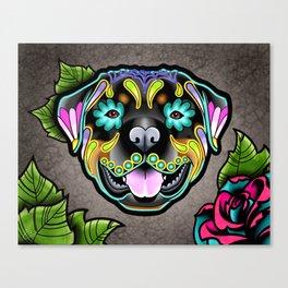 Rottweiler - Day of the Dead Sugar Skull Dog Canvas Print