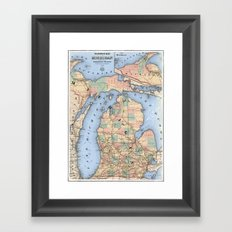 Michigan Railroad Map Framed Art Print