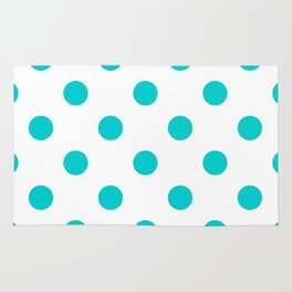 Polka Dots - Cyan on White Rug