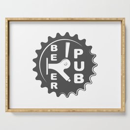 Black Beer Pub Brewery Handcrafted style Fashion Modern Design Print! Serving Tray