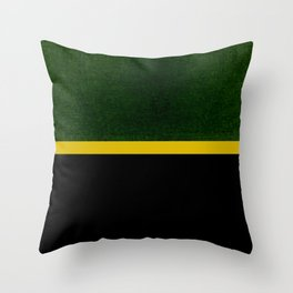 Green, Gold And Black Color Block Throw Pillow