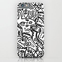 Hand Drawing Graffiti Creatures in the Summer Afternoon Black and White iPhone Case