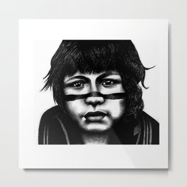 Portrait of a boy amongst leaves, near Maraba, Brazil. Metal Print