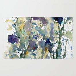 Iris Garden watercolor painting Rug
