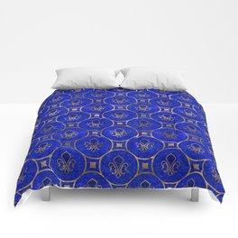Fleur-de-lis pattern - Lapis Lazuli and Gold Comforters