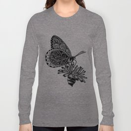 Tangled Butterfly on White Long Sleeve T-shirt