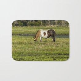 Pinto Mare with the Copper Colored Mane No. 1 - Chincoteague Ponies Assateague Horses Bath Mat