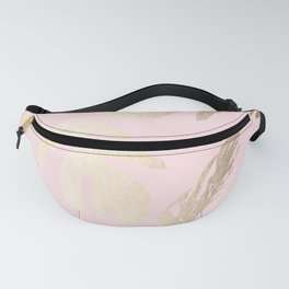 Simply Tropical Palm Leaves White Gold Sands on Flamingo Pink Fanny Pack