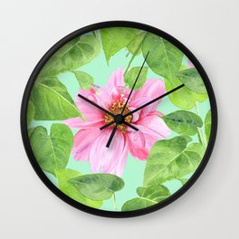 Pink Dahlias and green leaves Pattern, Mint Background.  Wall Clock
