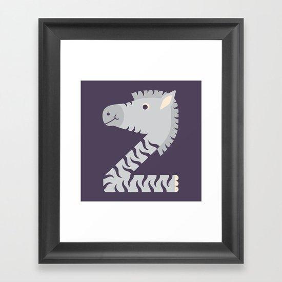 Letter Z // Animal Alphabet // Zebra Monogram Framed Art Print