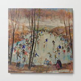 Classical Masterpiece Sunday Skaters in Central Park by Martha Walter Metal Print