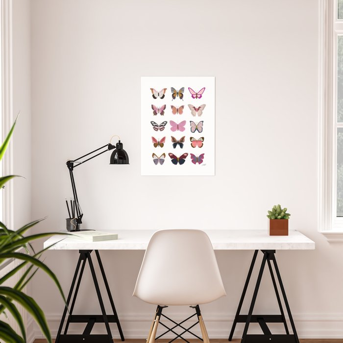 Pink Butterflies Poster