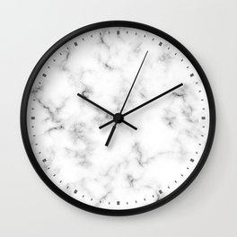 Minimalist White and Gray Marble Design with Clock Dash Wall Clock