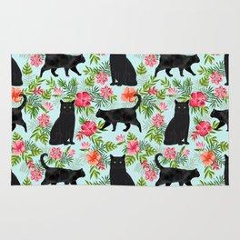 Black cat hawaiian cat breeds cat lover pattern art print cat lady must have Rug