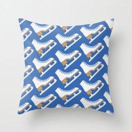 Ice Skating Pattern (Blue/White) Throw Pillow