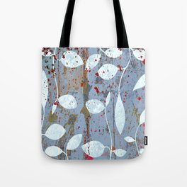 Silver leaf print, white leaves on textured marble Tote Bag