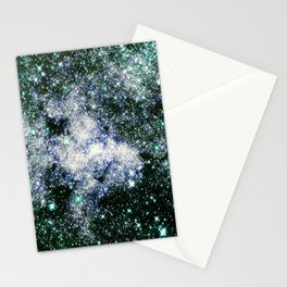 Galaxy Sparkle Stars Deep Green Blue Stationery Cards