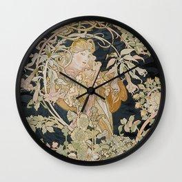1898 - 1900 Femme a Marguerite by Alphonse Mucha Wall Clock