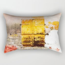 Old Metal Yellow Door on Scratched Wall Rectangular Pillow