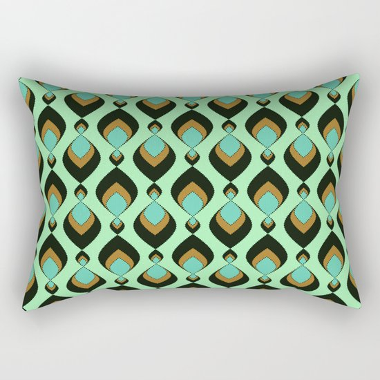 Retro pattern in green , turquoise and black colours . Rectangular Pillow