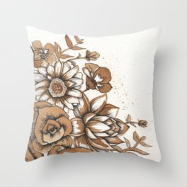 Coffee Art- Flowers Throw Pillow