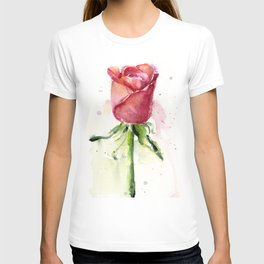 Rose Watercolor Red Flower Painting Floral Flowers T-shirt