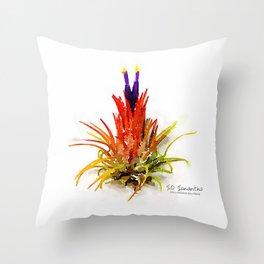 Tillandsia IO Ionantha Air Plant Watercolors Throw Pillow