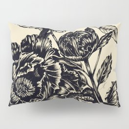 Peonies, black & white Pillow Sham