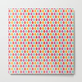 Modern colorful artistic teal pink orange easter eggs pattern Metal Print