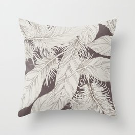 Feathers on brown background Throw Pillow