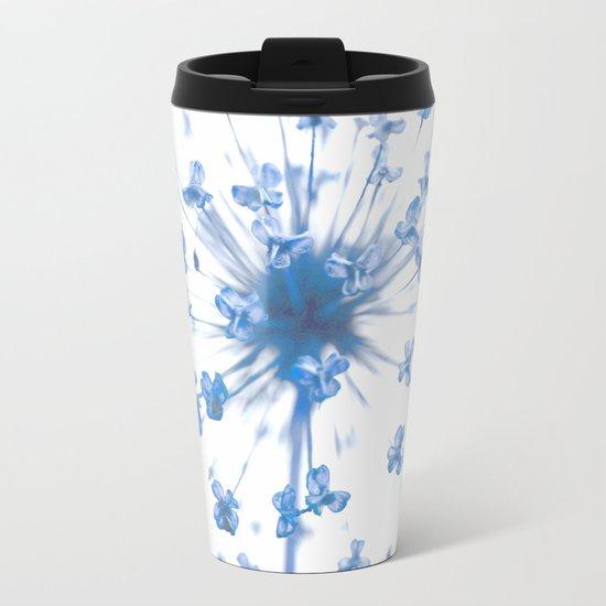 Flower Ball in Baby Blue Metal Travel Mug