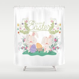 Happy Easter Baby Bunnies, Eggs and Pastel Flowers 2 Shower Curtain