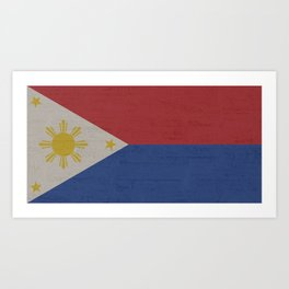 Philippines Stone Wall Flag Art Print